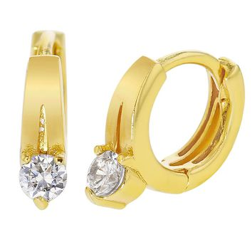 18k Gold Plated Small Clear CZ Huggie Hoop Baby Girl Earrings 8mm