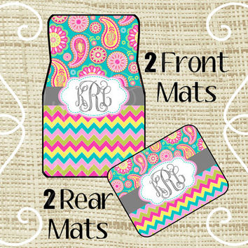 Custom Personalized Set of Car Floor Mats - Front and or Rear Back, Monogrammed Car Mats, Paisley Chevron