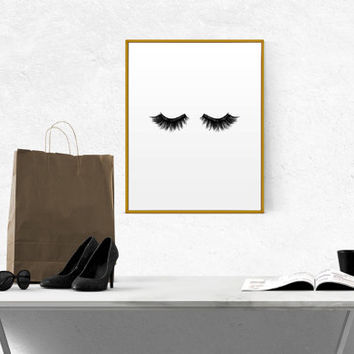 Lashes Wall Art Printable Poster Scandinavian Poster Beauty Prints Bedroom Poster Affiche Scandinave Modern Decor Wake Up And Make Up Print