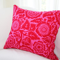 "Throw Pillow Slipcover in Red & Pink 18x18 Pillow ""Color Me Crazy"" Collection"