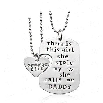 Daddy's Girl - Dog Tag Heart Pendant