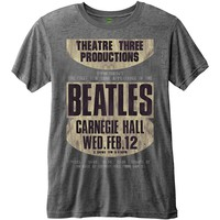 Beatles Men's  Carnegie Hall Vintage T-shirt Charcoal