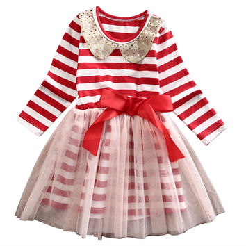 Xmas Girls Kids Sequins Baby Long Sleeve  Doll collar Striped Dress Princess Holiday Tulle Party Dresses 0-5Y