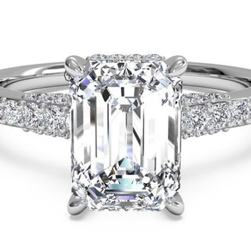Emerald Cut French-Set Diamond Band Engagement Ring in Platinum 0.45 CTW