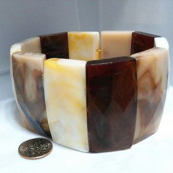 VINTAGE JEWELRY CHUNKY SHADES OF EARTH TONES MARBLED PLASTIC STRETCH BRACELET