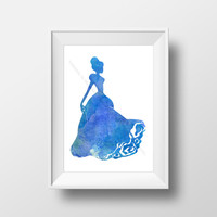 Princess Room Decoration,  Digital Download, Fairy Tale Decoration in Blue Watercolor , Printable Artwork