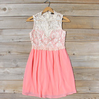 Neptune Lace Dress in Peach