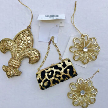 Animal Print Fleu de lis Flowers Sequin Ornament Set Christmas in JULY !