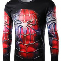 Black Spider-Man Costume Print Long Sleeve T-Shirt