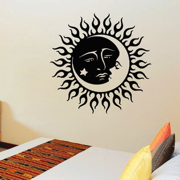 Vinyl Wall Sticker Decals Sun Crescent Ethnic Dual Symbol Moon Decal Bedroom Home Interior Decor Art Mural Z715