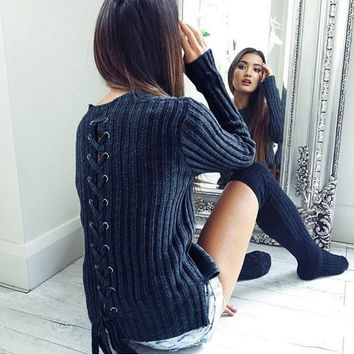 Dark Blue Lace-Up Back Knit Sweater