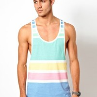 ASOS Stripe Vest In Pastel Tones at asos.com