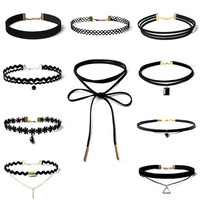 Vintage Chocker 10Pcs/Lot Stretch Velvet Gothic Lace Choker Maxi Necklace Punk Fashion