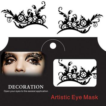 Halloween Eye Tattoo Sticker Squishy Eyes Liner Lace Fretwork Papercut Temporary Face Masquerade