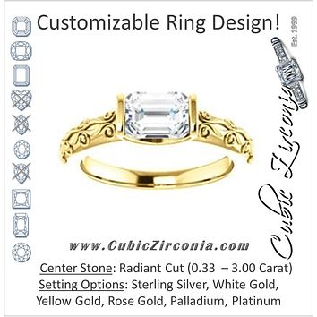 Cubic Zirconia Engagement Ring- The Cora (Customizable Bar-set Radiant Cut featuring Organic Carved Band)