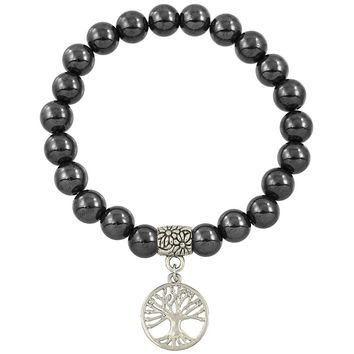 Healing Beaded Tree of Life Bracelet in Hematite
