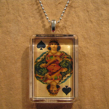 """Antique Playing Card Queen of Spades Flat Rectangle Glass Pendant with 24"""" Ball Chain Necklace"""