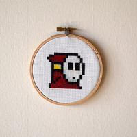 Framed Red Shy Guy Cross Stitch | Super Mario Bros Framed Needlepoint | Finished 4x4 Video Game Cross Stitch | 4 inch Wooden Hoop Art