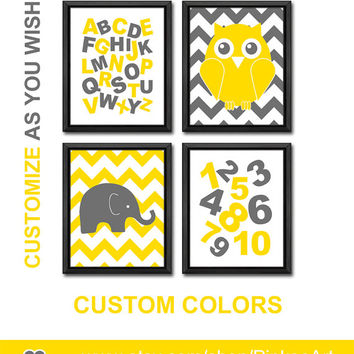 yellow and gray alphabet nursery decor owl elephant playroom wall art chevron kids room art letters and numbers educational kids decor