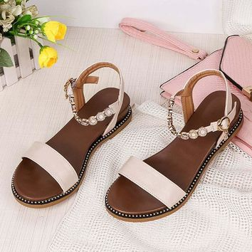 HEE GRAND 2019 New Fashion Women Sandals With Solid Buckle Strap String Bead Bling Shoes For Woman Comfortable Shoes XWZ5596