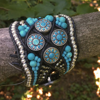 Turquoise Cuff, Beaded Bracelet, Turquoise Bracelet, Beaded Cuff, Beaded Leather Bracelet, Artisan Handmade Cuff, Turquoise & Silver, OOAK