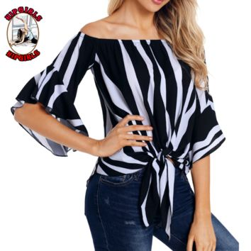New fashion stripe shoulder top women Black
