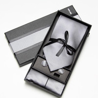 Men's Necktie Set with Matching Handkerchief and Cufflinks Gift Box - Grey