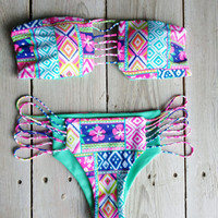 Neon Tribal Stringy Brazilian Set by CaipirinhaBikini on Etsy