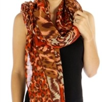 Women's MultiColor Cat Print Scarf in Brown
