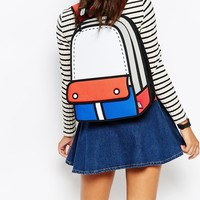 JumpFromPaper Red and Blue Colour Block Backpack