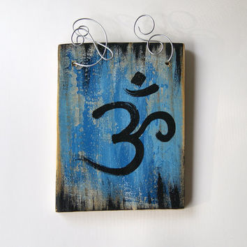 Om Wall Art - Hand Painted Om Wall Decor - Reclaimed Wood - Crazy Wire - Blue