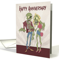 Zombie Couple with Sunburst Background for Anniversary card