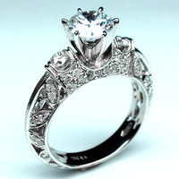 Engagement Ring - Vintage Three Stone Diamond Filigree  Engagement Ring 0.72 tcw. In 14K White Gold - ES406
