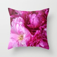 Peony Dreams Throw Pillow by Lisa Argyropoulos