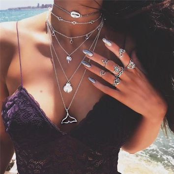 Mermaid Tail Multilayer Necklace