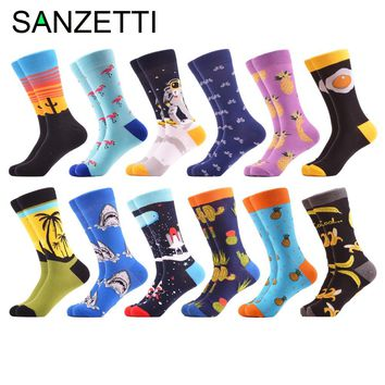 SANZETTI 12 pairs/lot Funny Bicycle Cactus Pattern Crew Skateboard Socks Colorful Men's Combed Cotton Casual Dress Wedding Socks