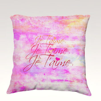 JE T'AIME French Typography Velveteen Throw Pillow Cover 18x18 Abstract Art Feminine Pastel Sweet Clouds Sky Art Dorm Nursery Decor Painting