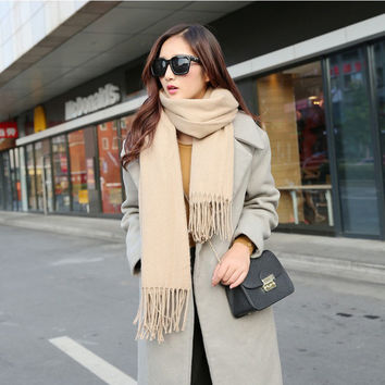 2016 new fashion winter wool scarf warm wrap luxury foulard cashmere women scarf female ponchos and capes Solid Pashmina