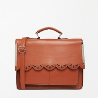 ASOS Satchel Bag with Scallop Bar Detail and Punchout at asos.com