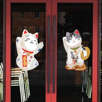 New Arrival Creative New Year Wall Decal Cartoon Fortune Cat Wall Sticker Window Sticker Door Sticker for Home Decoration