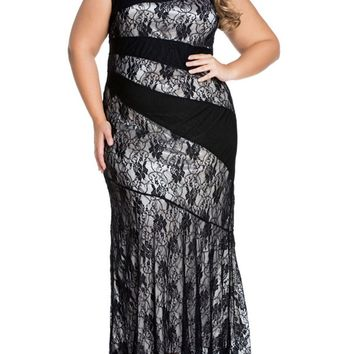 Streetstyle  Casual Exquisite Mermaid Lace Round Neck Plus Size Maxi Dress