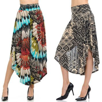Multicolor High Waisted Layered Palazzo Pants