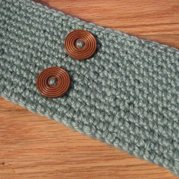 Crochet Head Band, Green Button HairBand, Hippie Chic, Bohemian Ear Warmer,Winter Fashion,Women and Teens, Ski Band
