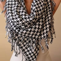 New- Gift -Trendy Scarf - Black and White Scarf - Thick Cotton Fabric - Triangular