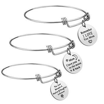 iJuqi Mom Gifts from Daughter Son  3PCS Stainless Steel Expendable Motivational Charm Bangle Bracelets Set for Mothers Day Birthday Gifts for Mom Mother Jewelry for Christmas