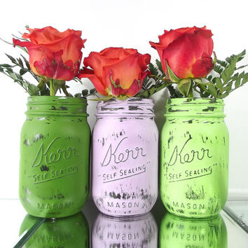 Home Decor - Hand Painted Mason Jars - Set of Three, Rustic, Painted Jars -- Green and Purple