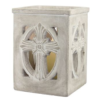 Stonebriar Collection Cross Candle Holder (Grey)