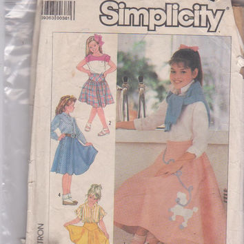 Vintage 1980s pattern circle skirt with poodle applique or with optional shaped yoke in 3 lengths girls size 10 12 14 Simplicity 7878 UNCUT