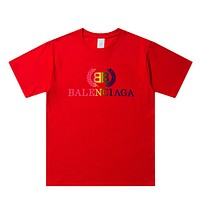 Balenciaga Fashion New Bust Multicolor Leaf Letter Print Leisure Couple Top T-Shirt Red