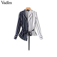 Vadim women stylish striped blouses asymmetrical patchwork design bow tie sashes long sleeve shirts female cute casual top LA376